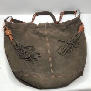 Lucky brand shoulder tote 14 x 18 x 4 brown suede